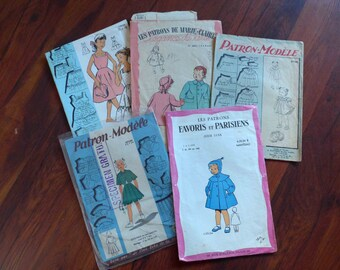 Great Lot of 5 - 1940's 1950's Patterns for Children, Dress, Coat...