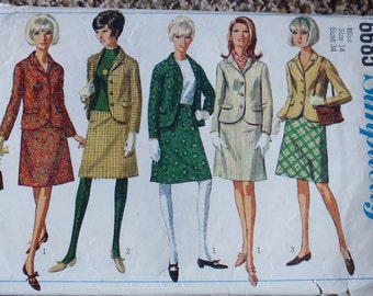 Simplicity 6685 women's suit pattern, bust 34 pattern, 1960s pattern, button front jacket, a line skirt, side zip skirt, mod style