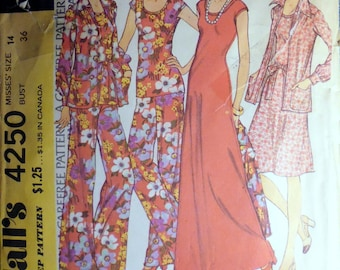 McCalls 4250 dress, jacket, pants pattern, bust 36, 1970s pattern, long dress pattern, pantsuit pattern, womens suit pattern