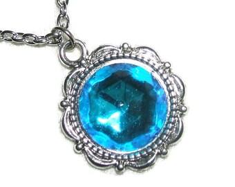 BERMUDA BLUE NECKLACE Czech Glass Pendant Quality Faceted Stone Silver Pltd