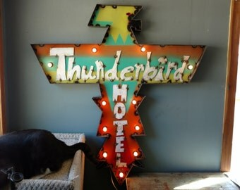 Thunderbird Hotel marquee Sign - light up sign - restaurant decor - bar decor - custom signs available