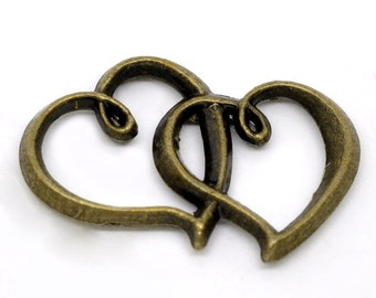5 Bronze Heart Pendants - Antique Bronze - Double Love Heart - 32x25mm - Ships IMMEDIATELY from California - BC797