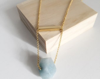 Faceted Aquamarine on Gold Necklace