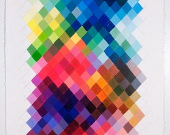 30x22 Geometric Abstract Painting, Rainbow Spectrum NY1656