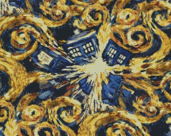 Doctor Who Exploding Tardis Van Gogh Cross Stitch Pattern