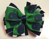 Green, Navy Blue Stripes Whale Print Nantucket Vineyard Stacked Boutique Style Ribbon Bow Handmade for PETS Dog Bow Collar Accessory