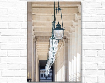 Paris Photograph on Canvas -Palais Royale Lights, Gallery Wrapped Canvas, Paris Architecture Photo,  French Home Decor, Large Wall Art