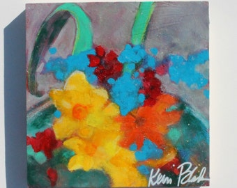 "Colorful Vibrant Abstract Floral Painting, Yellow, Blue, Acrylic Painting ""Garden Offerings"" 8x8"