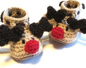 Baby and toddler reindeer booties.  Holiday booties for baby.  Reindeer baby booties.  Toddler baby booties.  Christmas booties for baby.