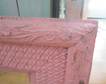 Vintage  Shabby French pink  mirror roses prairie cottage chic