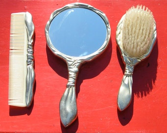 Vanity Mirrored Perfume and Jewelry Tray with  Three Piece Hair Set  - By GODINGER SILVER ART  1988 -Art Deco