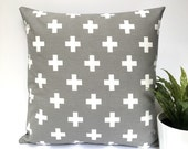 Grey swiss cross cushion cover gray plus pillow cross cushions cross pillows swiss cross pillow cover throw pillow geometric