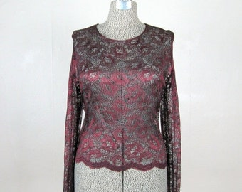 25% Off Summer Sale.... Vintage 1980s Sheer Lace Blouse 80s Maroon & Black Lace Rhinestone Studded Blouse Size L