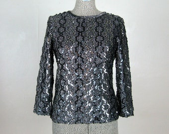 Vintage 1960s Sequin Tunic 60s Black and Silver Sequin Top Size 8 M