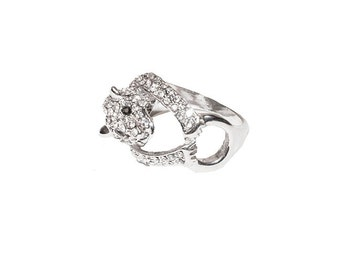 Leopard Ring, Rhinestone Pave Ring, Silver Metal, Size 9