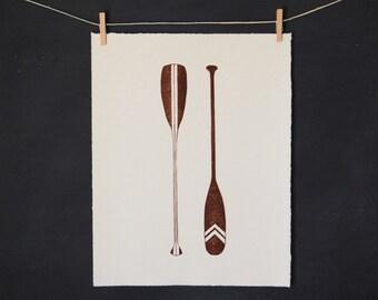 Canoe Paddles - Linocut - Hand Printed Art