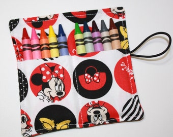 Minnie Mouse Party Crayon Rolls Party Favors, made from Minnie Mouse fabric crayon rollup holder, Minnie Mouse Birthday Party Favors