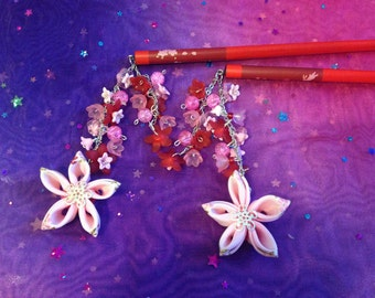 Pink and red cherry blossom hair sticks