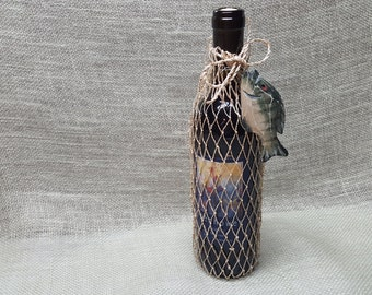 Fish Net Wine or Gift  Bag - Embellished with a Wood Fish Ornament