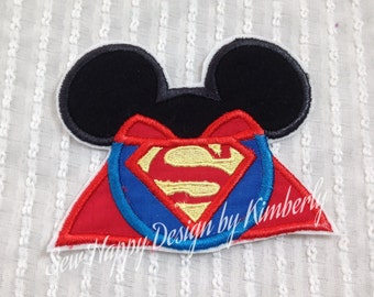 Superman Inspired MOUSE Head Characters  Iron on  Appliqué Patch
