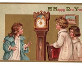 Vintage Frances Brundage New Year Post Card, Grandfather Clock, Artist Signed Postcard, Children in Pajamas, Unused Holiday Postcard
