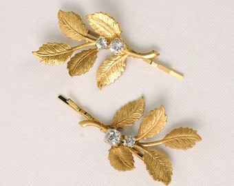 Gold Leaf Hair Pins Bridal Bobby Pins Woodland Clips Rustic Bridesmaid Accessories Vintage Wedding Hair Piece Rhinestone Bridal Gift ForHer
