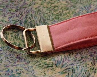 Pink Upcycled Silk Necktie Mini Key Fob. Gift for Him Under 5 Stocking Stuffer Handmade Keychain Teen Teacher Coworker Ring Chain Keys