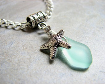 Starfish Anklet Sea Glass Anklet, Silver Chain with Seafoam Beach Glass Slider Charm Seaglass Jewelry, Wedding Jewelry
