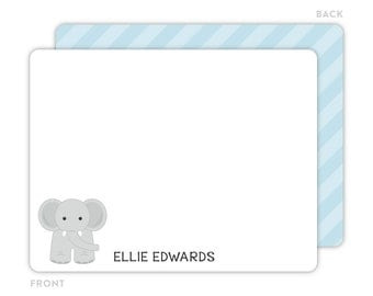 Elephant Note Cards - Personalized Flat Note Cards - Elephant Notecards - Kids Thank You Cards - Children Stationery - Elephant Stationery