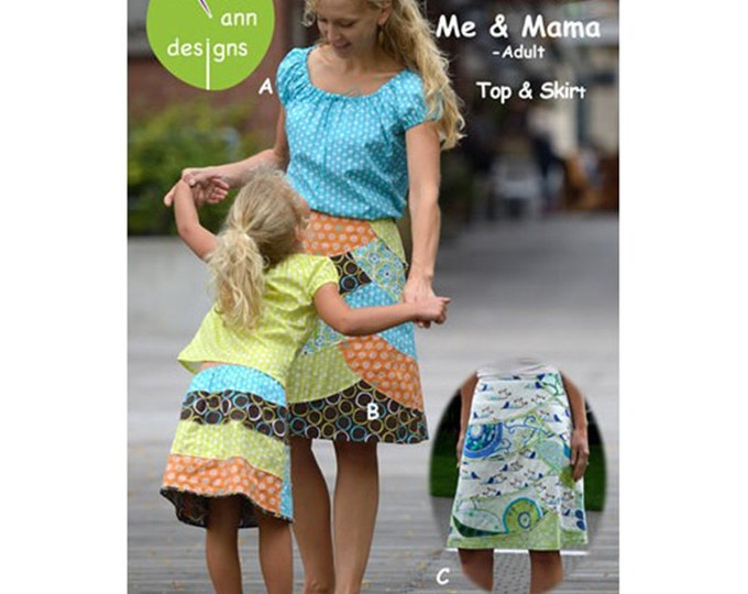 Me & Mama Pattern /Adult's and Children's Sizes / A-Line Skirt Pattern / Peasant Shirt Pattern / Easy Curves / Olive Ann Designs