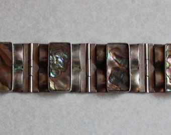 Vintage Alpaca Mexico Sterling Silver and Abalone Panel Bracelet