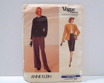 Anne Klein Jacket Skirt Pants Vintage Vogue 2355 Never used Sewing Pattern 1980s Slacks High Waist Skirt American Designer Size 12 14 16 80s