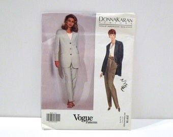 Donna Karan Sewing Pattern Vogue 2918 Never Used DKNY Jacket Tapered Pants 1990s American Designer Size 12 14 16 Casual Pantsuit Relaxed