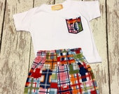 madras summer set for baby boys, madras shorts for boys, summer plaid short set, plaid short set