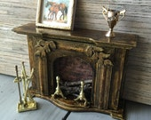 Dollhouse miniature fireplace and mantle with brass tools minature dollhouse