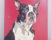 Boston Terrier Dog Portrait Hand Carved & Hand Painted on Wood - Great Gift!