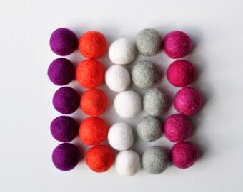Sunset Felt Ball Pack, 25 Pieces, Wool Felt Balls