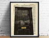 SHERLOCK Art Print, 221B Baker Street Door Sign, Poster Wall Art, Antique English Book Page, Dictionary Art, Sherlock Decor