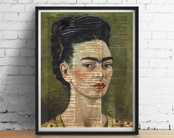 FRIDA KAHLO Print, Artist Portrait Dictionary Art Print, Frida Poster, Mexican Decor, Home Decor, Book Page Giclee 5x7, A3, 8x10 +More Sizes