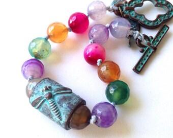 Boho Knotted  gemstone bracelet with Greek Patina accents Dragonfly Jewelry Multicolored Agate Bracelet Jewelry by Lyrisgems