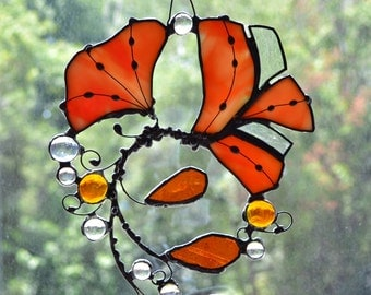 Ginkgo  from Chicago. Orange, Yellow Stained Glass Suncatcher.