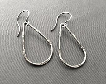 Sterling Silver Teardrop Earrings, Artisan Jewelry, Lightweight, Handmade, Under 50, Gifts for Her