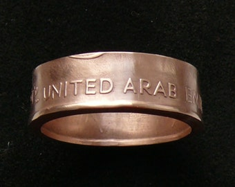 Bronze Coin Ring 1973 United Arab Emirates 10 Fulus, ring size 10.