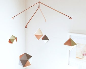 modern COPPER geometric mobile - baby mobile - nursery mobile - sage opal gravel
