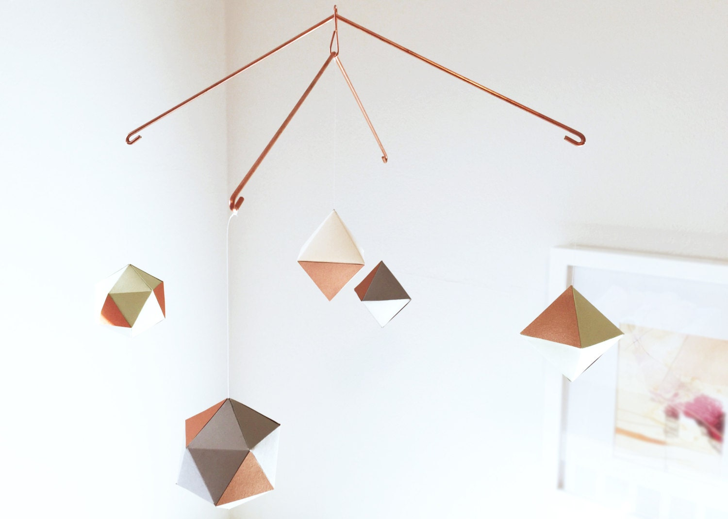 modern copper geometric mobile baby mobile nursery mobile. Black Bedroom Furniture Sets. Home Design Ideas