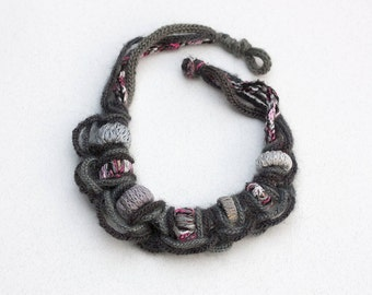 Rustic fiber necklace, OOAK statement jewelry, gray knitted necklace with bamboo beads