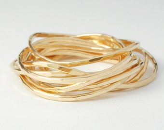 Wild Golden Stack Ring Set of 10 Yellow Gold Filled Rings