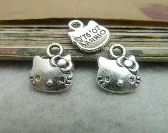 50pcs 10*13mm antique silver Kitty cat charms pendant C7115