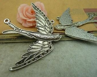5pcs 54*67mm antique silver  bird charms pendant C3787