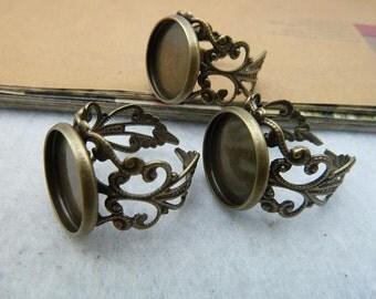 5pcs 12mm pad antique bronze ring base cabochon settings C2092